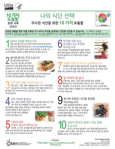 The Choose MyPlate Ten Tips translated into Korean