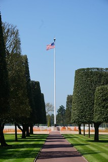 Flag at American Cemetery at Omaha Beach