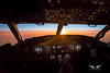 Sunset light from the 737 cockpit