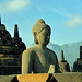 One of 72 Buddha statues of Borobudur Temple, Java Island (Indonesia)