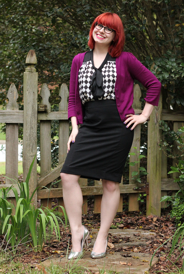 Work Style: Black Pencil Skirt, Checkerboard Blouse, Purple Cardigan, and Silver Heels
