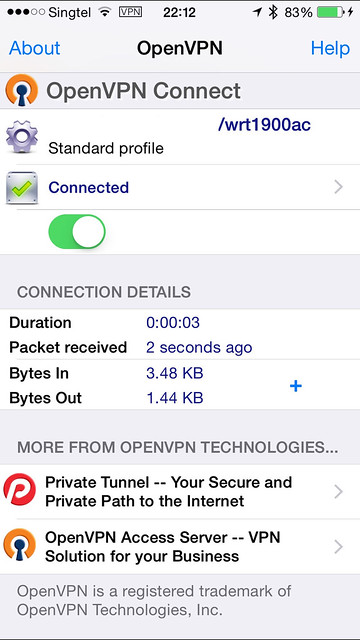 OpenVPN iOS App - Connected