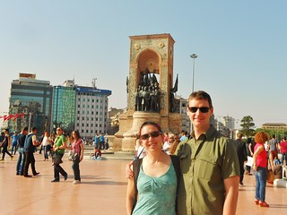 Clare and Dennis at Taksim Square