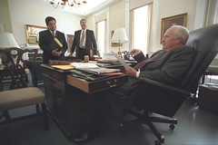 Vice President Cheney in His Office at the White House with David Addington and Alberto Gonzales