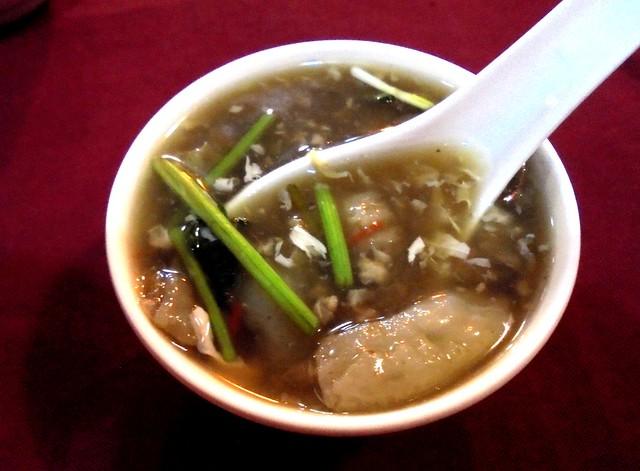 Ruby sea cucumber soup