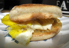 Eggs And Cheese On An English Muffin.