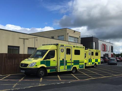 Two Mercedes Ambulances - NAS National Ambulance Service / HSE Health Service Executive -  County Hospital / UL Hospital, Ennis, Ireland  - Emergency Services Vehicle