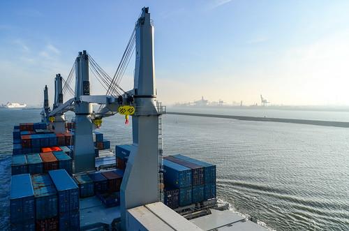 Cargo ship in the Nieuwe Waterweg, Rotterdam