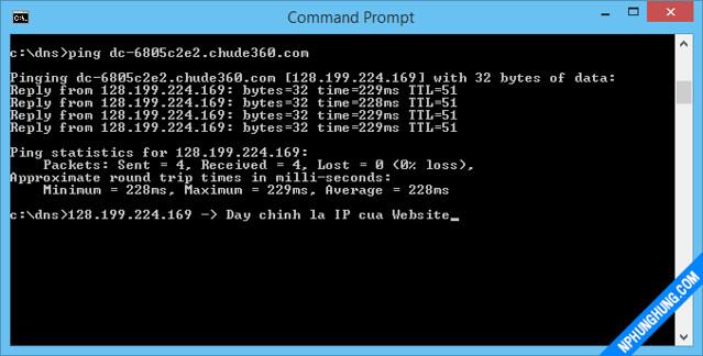 Ping ra kết quả IP thực của domain