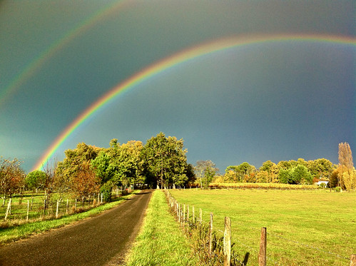IPhone 4. Rainbow in the countryside  (Near Libourne, Aquitaine, France)