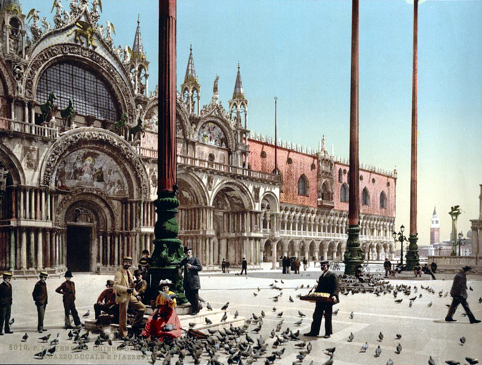 Pigeons in St. Mark's Place, Venice, Italy