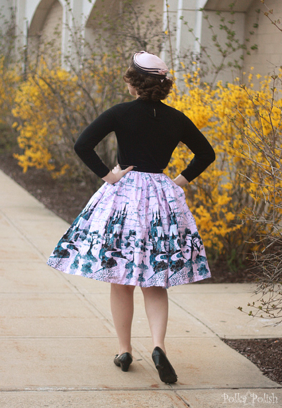 Retro 1950s inspired outfit with castle print Jenny skirt