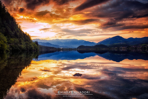 trip travel light sunset sun lake mountains alps reflection nature water colors clouds germany landscape austria europe sundown traveling trentino hallstatt trakking