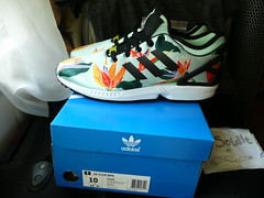 "Adidas ZX Flux NPS  ""Floral"" Size 10 (Blush Green/Black/Yellow) B34468 NEW +BOX"
