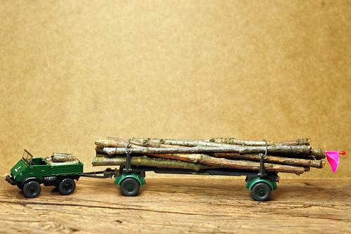 Modellbau H0 Unimog mit Langholzanhänger Stämme Äste Waldspaziergang Basteln mit Naturmaterialien Foto Brigitte Stolle