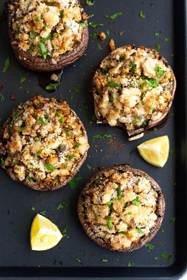Shrimp Stuffed Portobello Mushrooms - Easy to make, waistline friendly, and just 30 minutes from start to finish! #stuffedmushrooms #shrimp #portobellowmushrooms   Littlespicejar.com