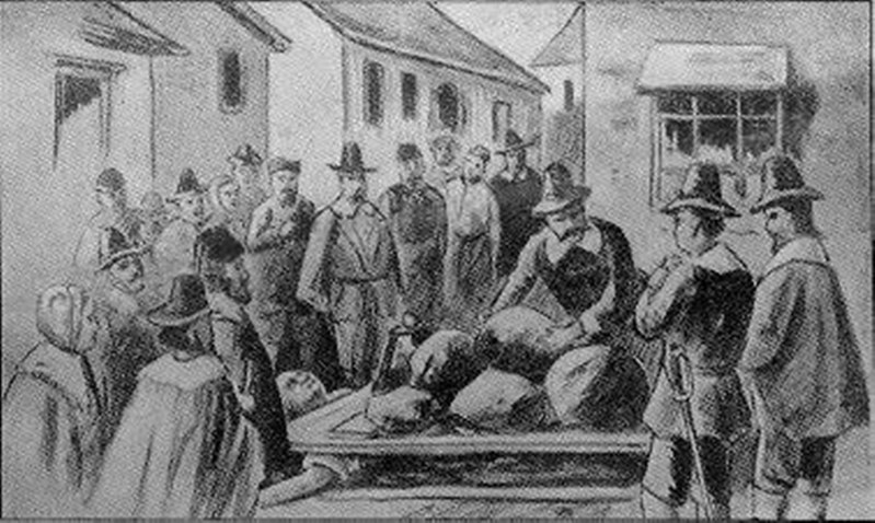Peine forte et dure, or torture by pressing, during the Salem Witch Trials