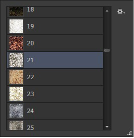 Screenshot of pattern drop-down Menue in Texture Section