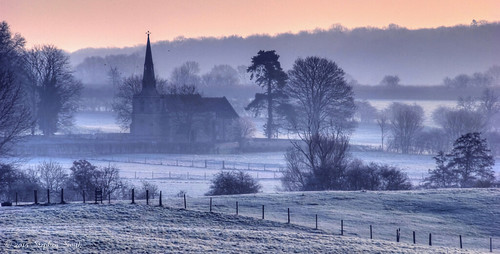 uk pink blue trees england mist cold colour nature field rural landscape march countryside frozen spring still woods nikon scenery frost centre northamptonshire earlymorning frosty calm land fields serene hdr newton 2015 hedgerows d80 geddington