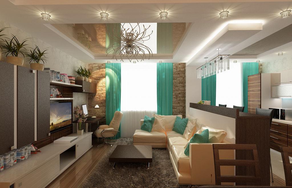 Интерьер гостиной комнаты совмещенной с кухней