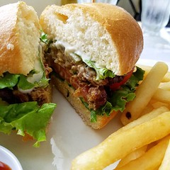 Vegan burger and fries at a Vietnamese restaurant  #veganfood #vegetarian #vegan #veganfoodshare #meatless #veganburger