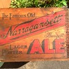 Found this treasure while cleaning out the garages (how does an 1800 sqft house have a four car garage?!). Text me or email if you want it and a whiskey box too. #pvd #oldskool #rad #typography #narragansett #ale #everythingmustgo