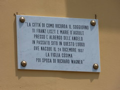 Photo of Cosima Wagner, Franz Liszt, and Marie d'Agoult marble plaque