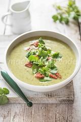 watercress soup with chorizo