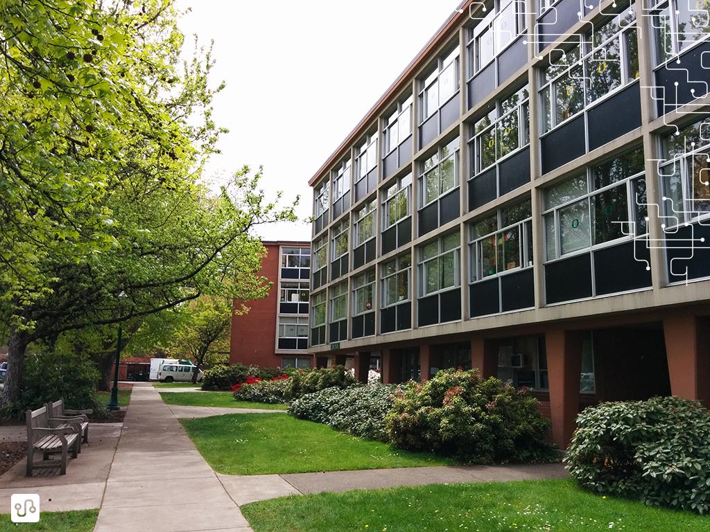 Vista externa do prédio dos dormitórios