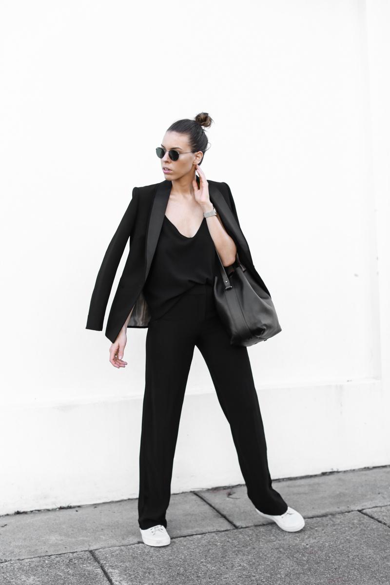 modern legacy, fashion blog, bucket bag, street style, sport luxe, wide leg suit, sneakers, karen millen (1 of 1)
