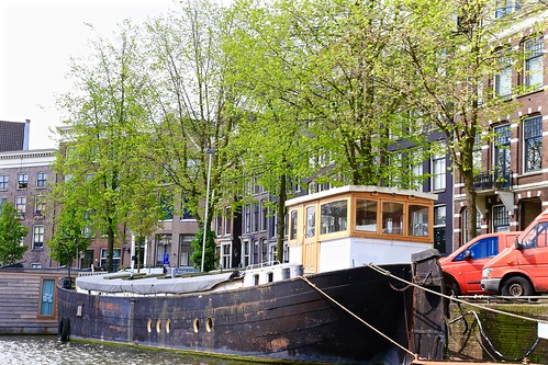 Boat houses on the canals of Amsterdam.