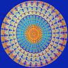 A  Blue Circular Design in Textured Cloth -:- 4713