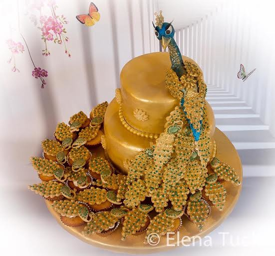 Peacock Pleasure Cake by Elena Tuck of Elena's Delights