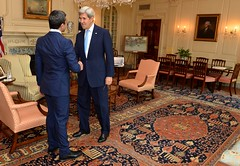 U.S. Secretary of State John Kerry shakes hands with United Arab Emirates Foreign Minister Abdullah bin Zayed before a meeting at the U.S. Department of State on July 27, 2016 in Washington, D.C. [State Department Photo/ Public Domain]