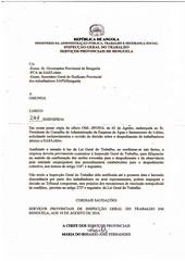 Carta dos Serviços Provincias de Inspecção do Trabalho em Benguela