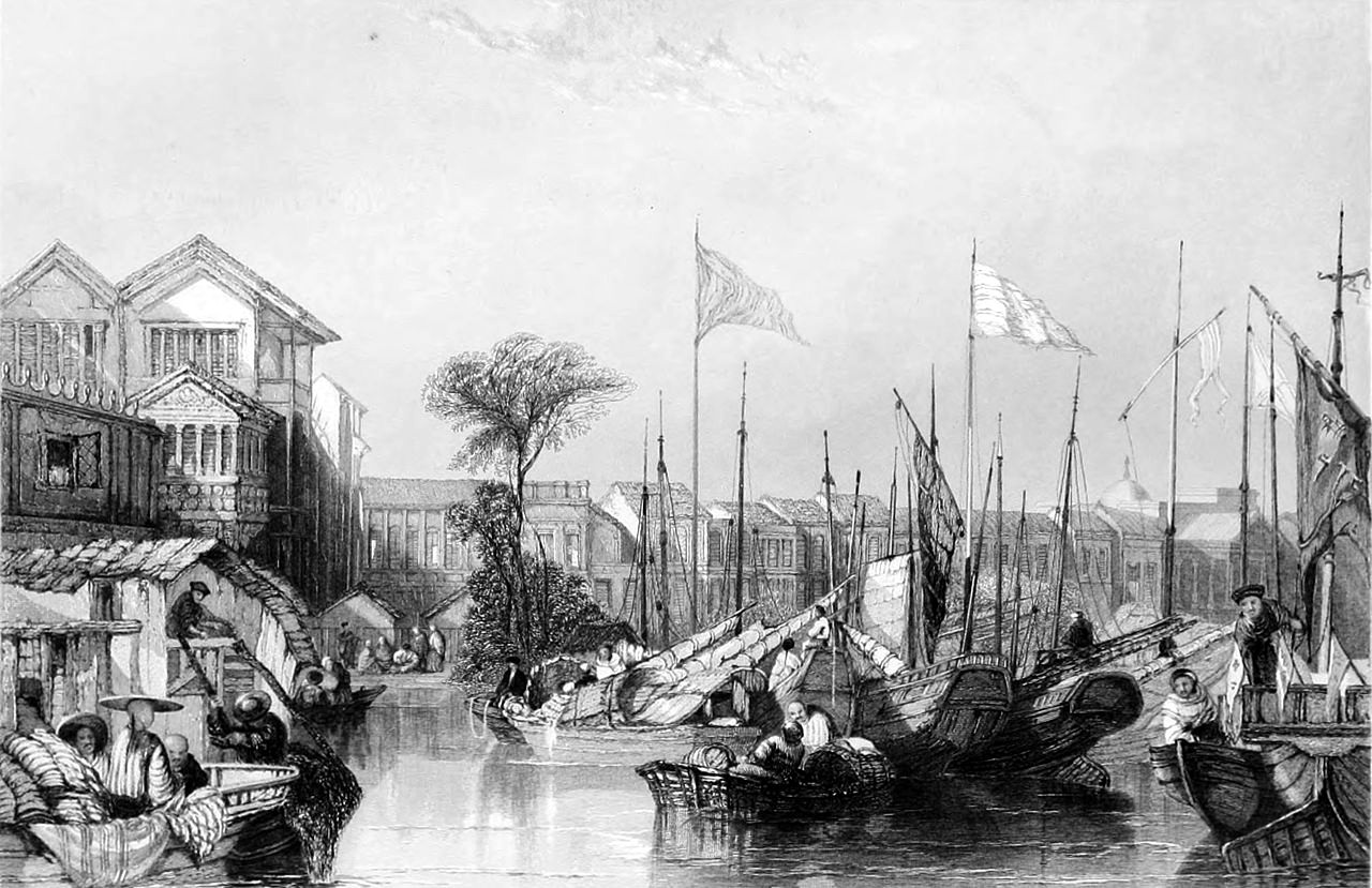 The European Factories in Canton by Thomas Allom, 1838