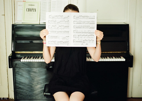 Lost in music notes.