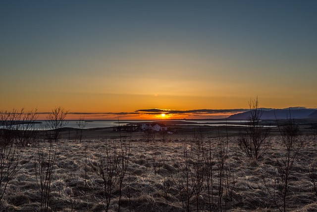 Sunset near Blikastadir Iceland