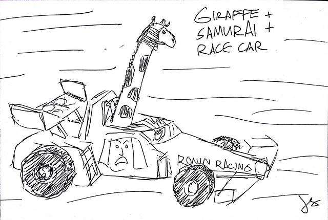 Giraffe + Samurai + Race Car