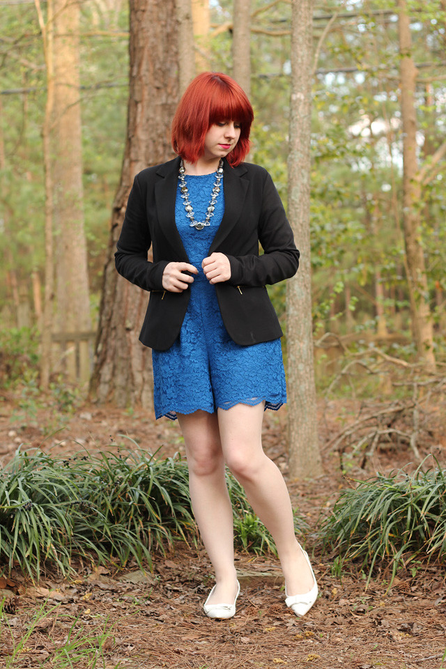 Work Outfit: Black Blazer over a Cobalt Blue Romper and White Pointed Flats