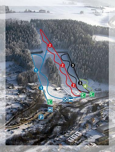 Hlinsko - mapa sjezdovek