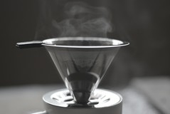 r.e. ~ posted a photo:	Trying out this new stainless steel filter for my pour over coffee.