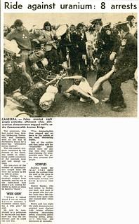 Anti-Uranium Ride Canberra 1977 Brisbane Telegraph clip