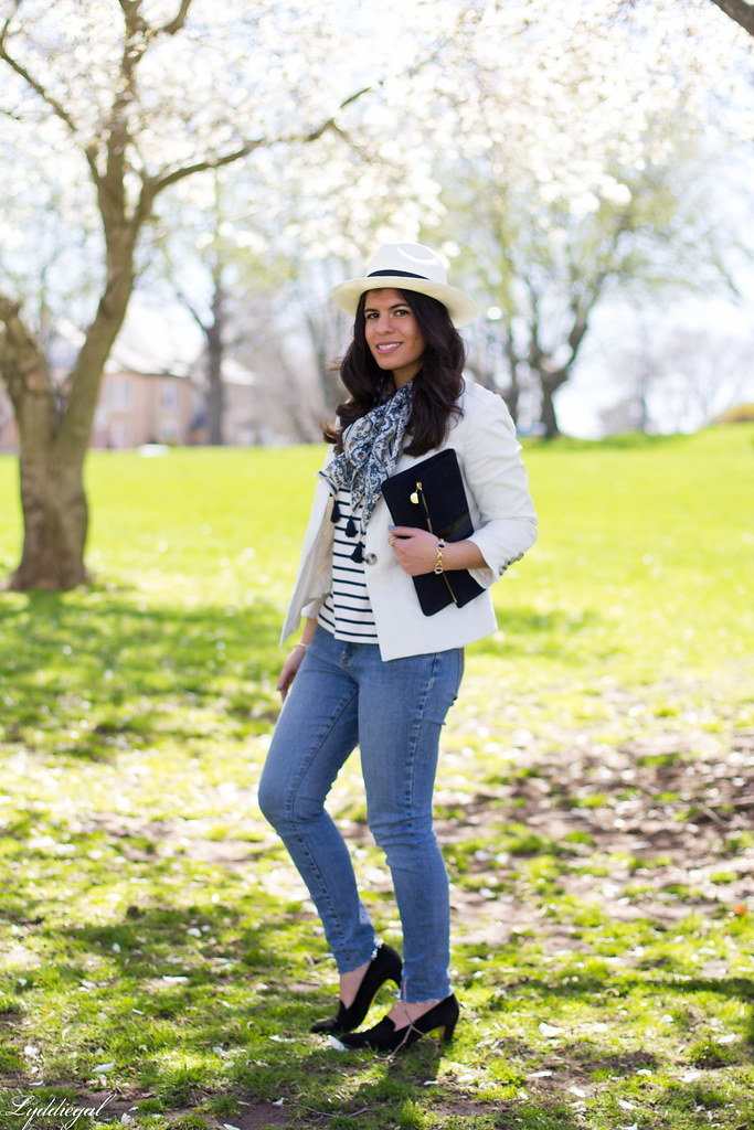 striped shirt, white blazer, jeans, panama hat-1.jpg