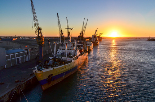 Sunset on the port of Walvis Bay, Namibia