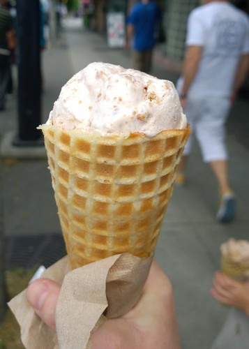 Rhubarb and ginger streusel ice cream from Rain or Shine