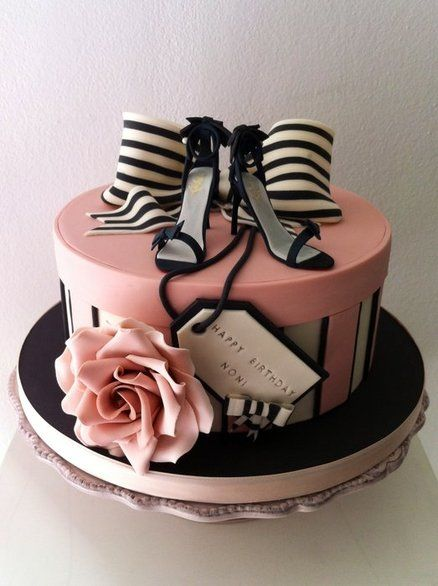Fashion Fem Pink and Black Cake from Cakes Decor