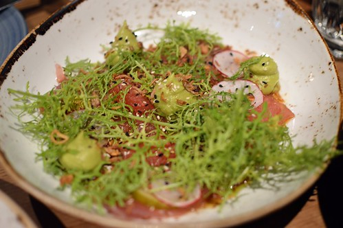 Tuna carpaccio, avocado purée, pickled cucumber, grapefruit