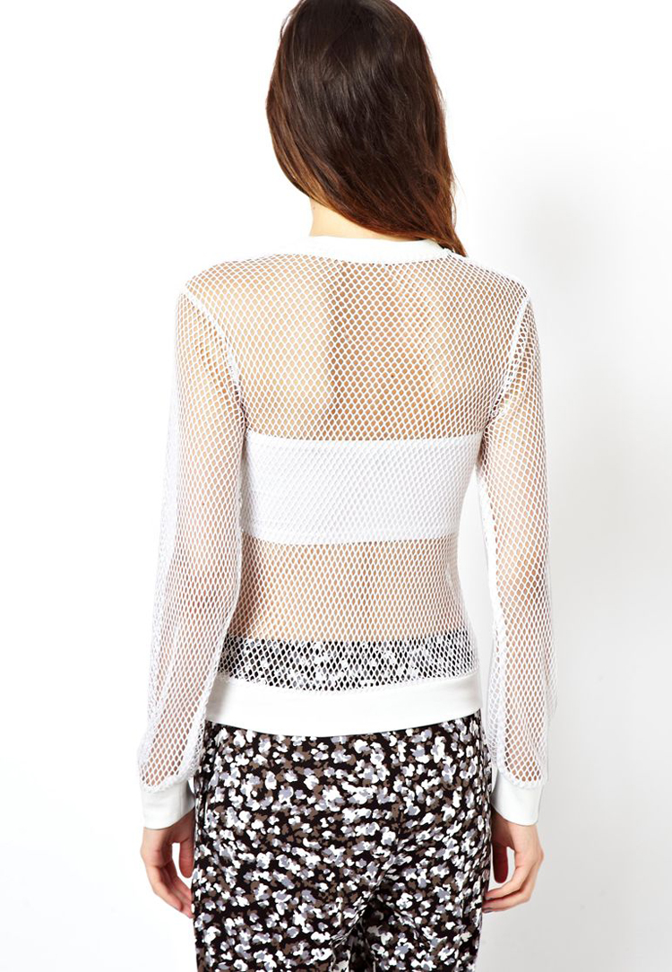 ASOS White Top in Open Mesh