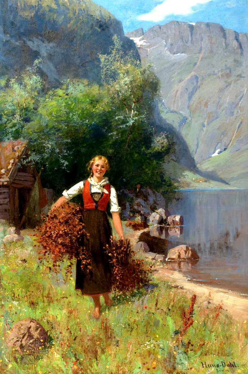 Girl in a Fjord Landscape by Hans Dahl